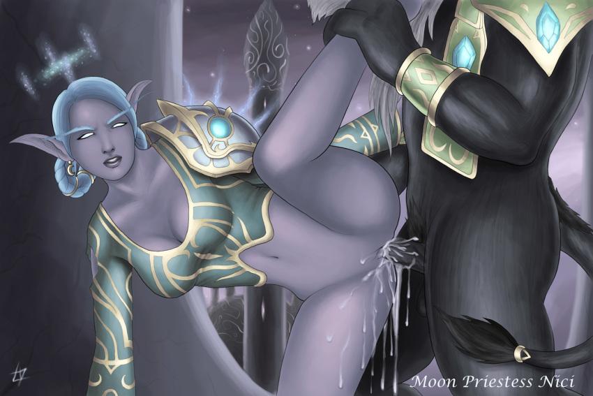 goblin female warcraft world of Lucky star purple hair girl