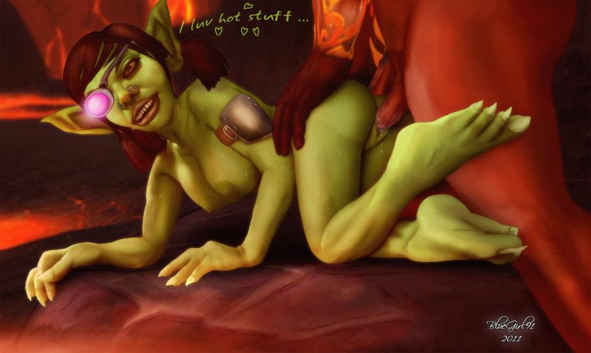 female warcraft of world goblin Doki doki literature club yuri sprites